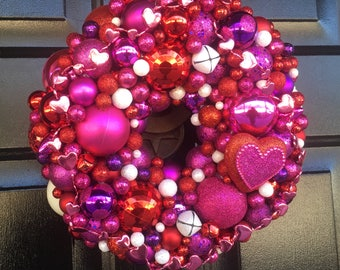 Valentine's Day Wreath made of Red, Pink and White shatterproof ornaments - 13""