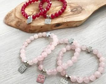 "The ""Gal""entine's prayer bracelet set of 2 in rose quartz OR red agate stones"