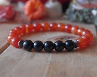 Yoga Bracelet, Carnelian bracelet, samhaine bracelet,  Sacral chakra jewelry, Orange yoga, bracelet, natural stone, red bracelet, Carnelian