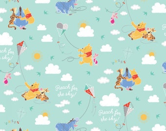 Winnie The Pooh A Good Kite Flying Cotton Woven, Winnie the Pooh Fabric, Winnie the Pooh Quilt Fabric, Winnie the Pooh Cotton Fabric, Cotton