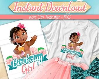 DIGITAL FILE Baby Moana Iron On Transfer, Moana Birthday Girl, Moana birthday shirt, Moana Tshirt Transfer, First Birthday