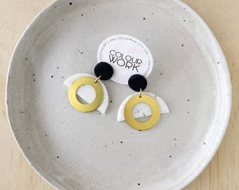 Brass Ring Earrings - Jet Black & White Granite with a Brass Circle Ring.
