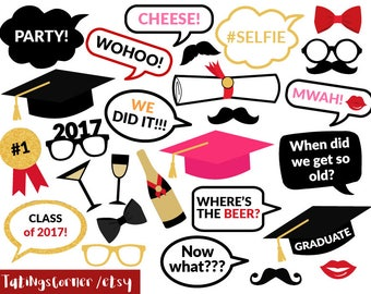 free graduation photo booth props pdf