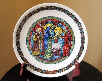 Limoges Noel Vitrail 4 Collectible Plate, La Purification 1978, Porcelaine De Limoges France,  Christmas Scene