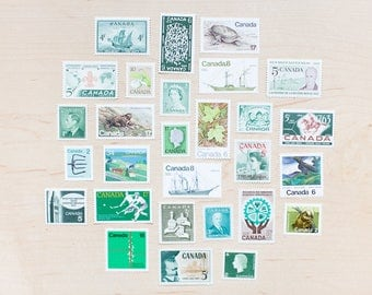 28 Canadian Green Postage Stamps 1940s 1950s 1960s 1970s Uncancelled Unused Queen Elizabeth Trees Maple Leaves Boats Ships Fishing Beaver L2