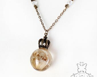 Ivory Rosen chain with Crown