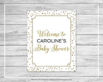 White and Gold Baby Shower Welcome Sign - Printable Baby Shower Welcome Sign - White and Gold Confetti Baby Shower - EDITABLE - SP149