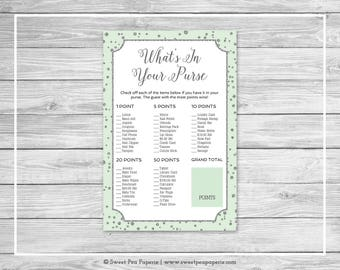 Mint and Silver Baby Shower What's In Your Purse Game - Printable Baby Shower What's In Your Purse - Mint and Silver Baby Shower - SP152