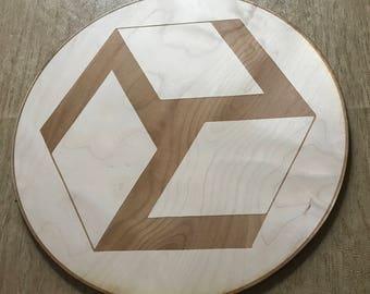 Antahkarana Crystal Grid - Female - Reiki Crystal Grid - 3, 6, 9  or 12 Inches - Wooden Crystal Grid - Sacred Geometry