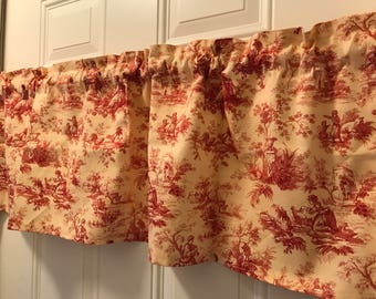 Waverly Rustic toile country tan and burgandy Curtain Valance