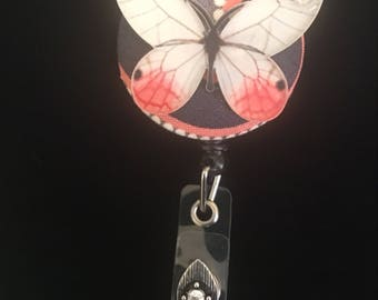 Grey Apricot Butterfly--Nurse Retractable ID Badge Reel/ RN Badge Holder/Doctor Badge Reel/Nurse Badge Holder/Nursing Student Gifts