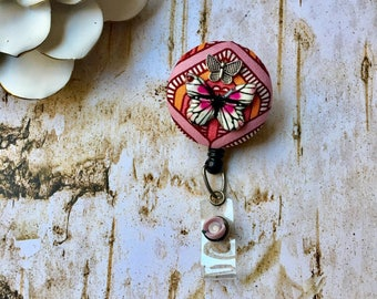 Butterfly Inside -Nurse Retractable ID Badge Reel/ RN Badge Holder/Doctor Badge Reel/Nurse Badge Holder/Student Nurse badge reel/ nursing gi