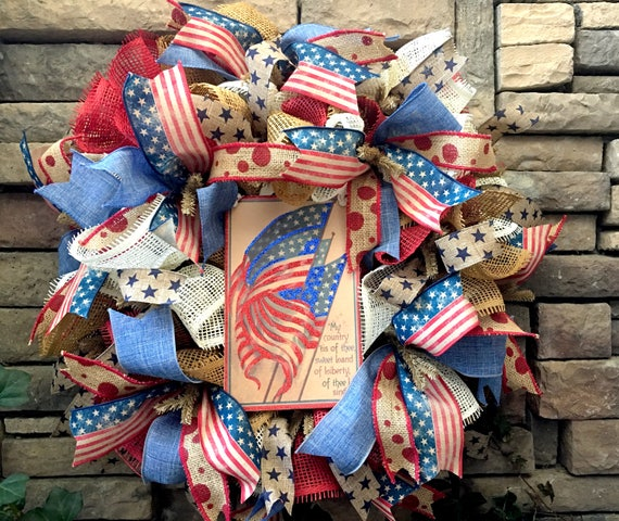 Patriotic Wreath, Americana Wreath, Fourth of July Wreath, 4th of July Wreath, 4th of July Decorations, Burlap Wreath, Wreath for July 4th