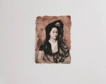 Pablo Picasso print on 5x7 handmade paper