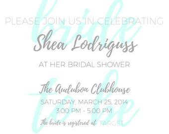 SHOWER INVITATIONS - custom made, any colors