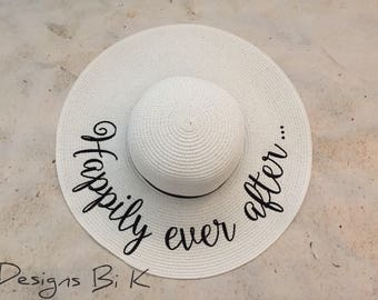 Happily ever after straw hat, Personalized beach sun hat, Custom floppy beach hat, Bridal shower, Honeymoon, Wedding gift, Personalized gift