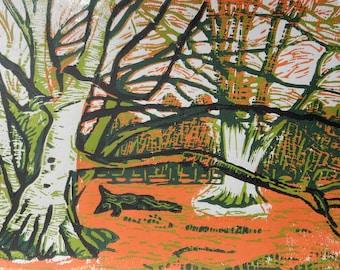 Winter Woodland, Shropshire Original Limited Edition Reduction Linocut Print Small Format Art