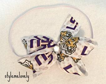 Louisiana State Tigers LSU Baby Girl Boutique Bow Elastic Headband