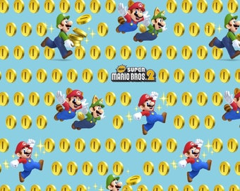Nintendo Super Mario 2 Coins Toss premium 100% Cotton Fabric (SC204)