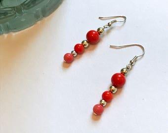 Beaded Earrings, Beaded Jewelry, Glass Earrings, Metal Beads, Orange Earrings, Silver Earrings, Mod Earrings, Mod Jewelry, Dangle Earrings