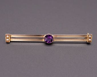 Vintage 14k Yellow Gold Round Cut .50ct Purple Amethyst Seed Pearl Bar Pin Brooch