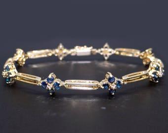 14k Yellow Gold 2.36ct Round Sapphire Diamond Tennis Link Flower Bracelet 7 inch