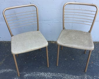 Set of Two Tan Cosco Gatefold Folding Dining Chairs