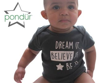 BELIEVE!, Organic Onesie, Organic Baby Clothes, Cute Baby Outfit, Unique Baby Gift, Eco Friendly Baby , Organic Bodysuit, Baby One Piece
