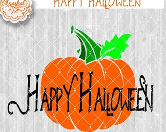 ON SALE Happy Halloween Pumpkin SVG File, Halloween Cut File Silhouette Studio, Svg Halloween Design Available in Svg, Dxf, Eps, Png Fall De