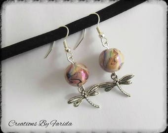 wave earrings with a Dragonfly pendant and Pearl beige effects