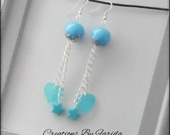Dangle earrings with beads on chain sky blue