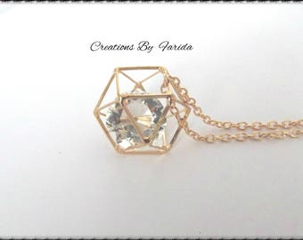 Rose gold necklace with pendant 3D Hexagon cage and a diamond shape bead