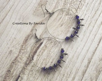 Creole bronze with gorgeous cobalt blue beads, snowflakes and stars