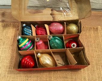 Vintage Paragon Glass Works Inc Miniature Glass Mercury Glass Christmas Ornaments Set of 10 with Box Made USA 1950s