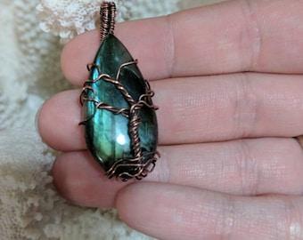 Copper Wire Wrapped Petite Tree of Life Labordrite Pendant