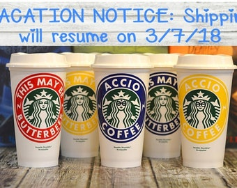 "Harry Potter Gift, Starbucks Coffee Cup ""ACCIO COFFEE"" with Glasses (Genuine Starbucks Cup) [Accio Tea, Personalized Harry Potter gift idea]"