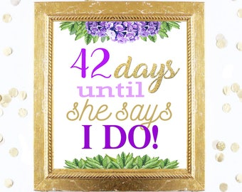 Bridal Shower Countdown Sign Customized - Floral Purple - Instant Printable Digital Download diy hydrangea and Gold Glitter Days until MRS