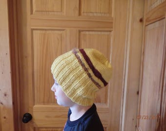 Gold and Maroon hand knit watchcap