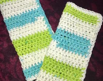 Crochet Dishcloths & Washcloths - Aqua White Lime Green Wash Dish Cloths-Eco friendly Reusable Cotton Cloths - Sold as a Set of Two