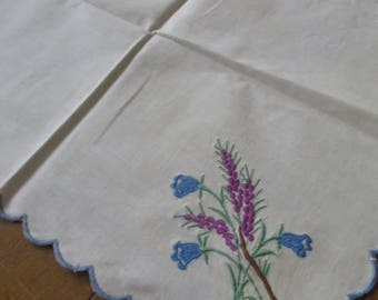 Sweet Vintage Tray Cloth- Scottish Heather Embroidery