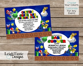 PRINTABLE SUPER MARIO, Super Mario Birthday Invitation, Mario U0026 Luigi  Party, Mario Brothers