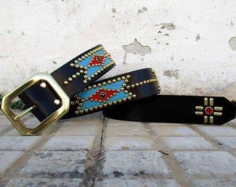 Chimayo-inspired Western Studded Jeweled Rockabilly Belt