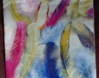 Set of 5 paper towels multicoloured feathers, various paper napkins