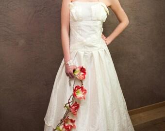 alma taffeta strapless wedding dress