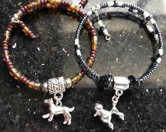 Dog Charm Bracelets, Stretchy Charm Bracelet, Charm Bracelet, Handmade Bracelets, Stackable Bracelets, Purple Beads, Dog Charms,