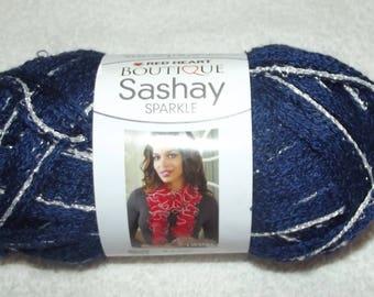 Red Heart Boutique Sashay Yarn, Blueprint Red Heart Yarn, Blue Red Heart Sashay Yarn, One Skein Scarf Yarn, Ruffled Yarn, Sashay Yarn