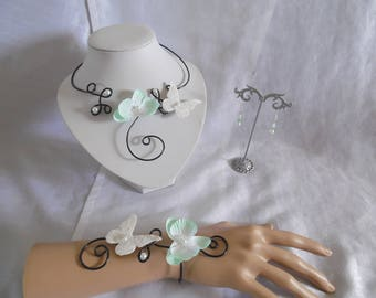 Black Orchid aluminum wire jewelry set wedding bridal set pastel sea green, butterfly linen and lace jewelry