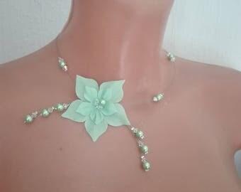 Bridal set necklace bracelet swarovski crytal silk flower jewelry set wedding earrings Silver 925 green pins