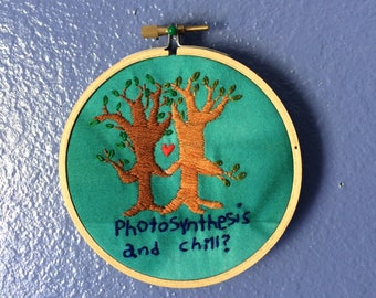 Hand Embroidered Trees with a Heart on Hand Dyed Fabric // Photosynthesis and Chill?