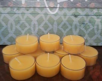Beeswax tealight candles 100% pure organic yellow beeswax tealights...